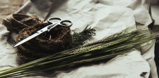 garden scissors and some grains on a white cloth