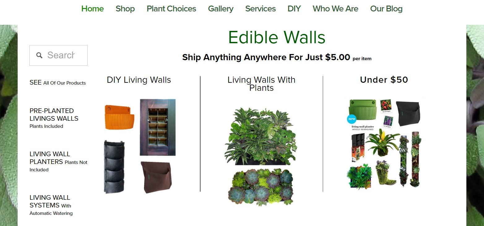 Edible Green Walls website