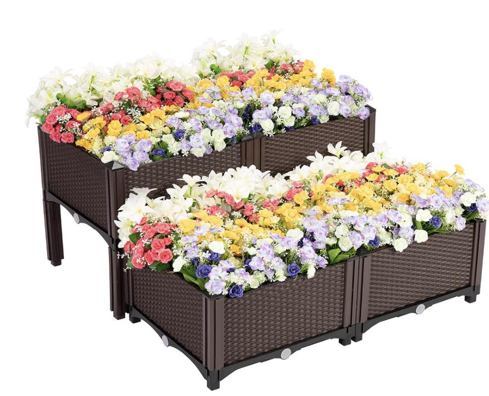 VIVOHOME Elevated Plastic Raised Garden Bed Planter Kit