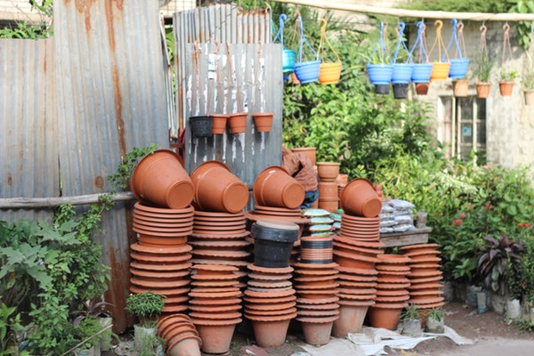 stack of clay pots