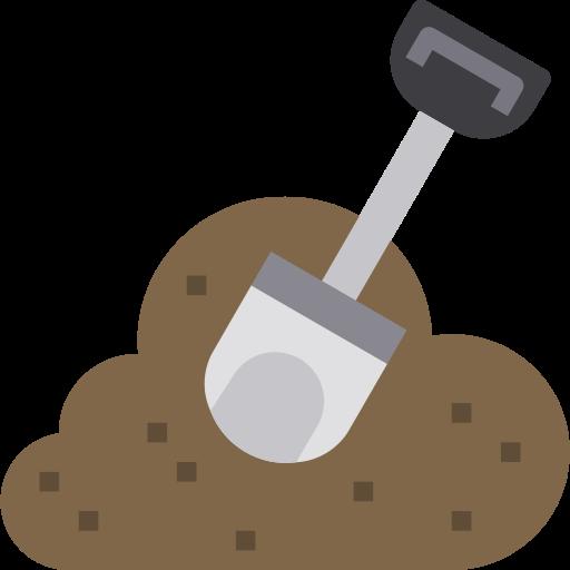 shovel digging in soil icon